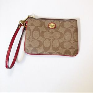 Coach Peyton Signature Small Wristlet Khaki/Red